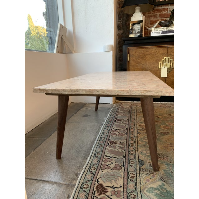 Mid-Century Modern Pink Marble Coffee Table For Sale - Image 11 of 12
