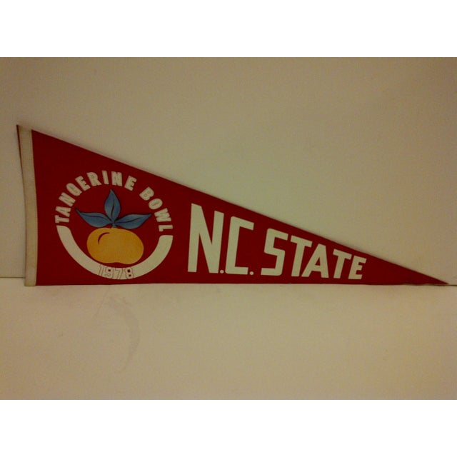 Vintage NCAA College Football pennant flag for NC State. Tangerine Bowl 1978. In good condition for its age.