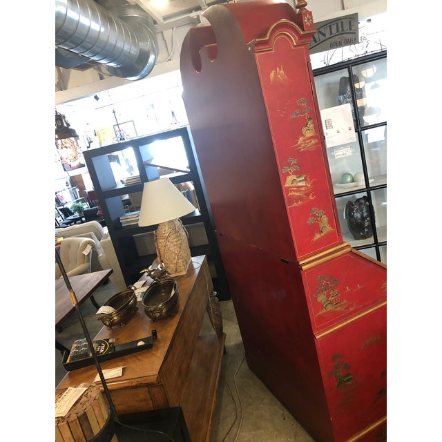 Late 20th Century Asian Style Hand Painted Secretary W/ Hutch For Sale - Image 5 of 13