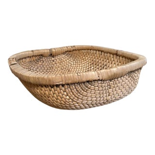 Vintage Woven Low Baskets For Sale