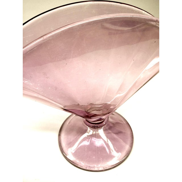 Mid-Century Modern MCM Lilac Iridescent Fan Vase With Stem For Sale - Image 3 of 9
