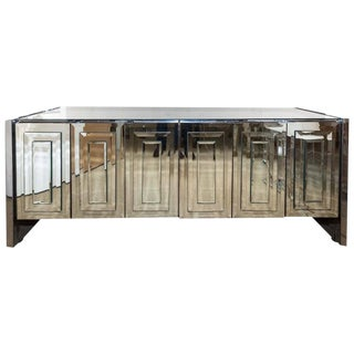 Fabulous Ello Six-Door Mirrored Credenza with Chrome Trim For Sale