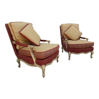 Late 20th Century Vintage Hickory Chair Company Louise XVI Berege Armchairs - A Pair For Sale