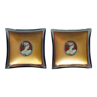 20th Century Hollywood Regency Bent Glass Butter Pats - a Pair For Sale