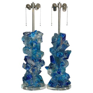 Glass Rock Table Lamps by Swank Lighting Blue Clear For Sale