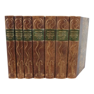 Art Nouveau Leather Book Set, S/7