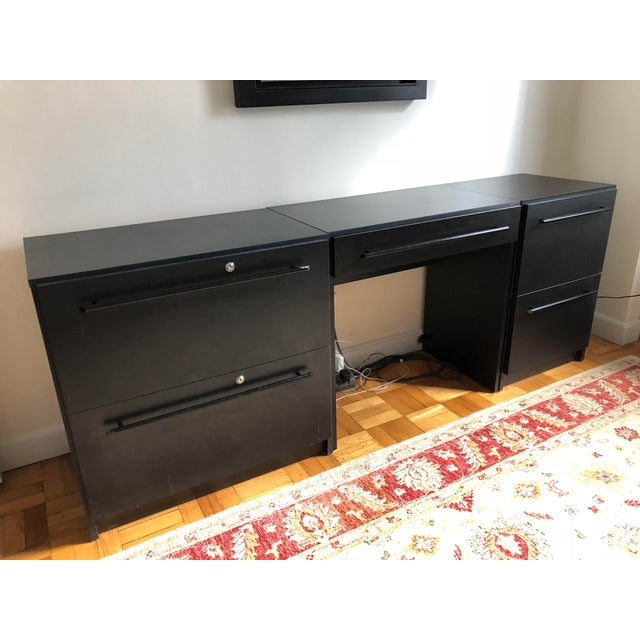 1990s Office Modular Filing Cabinet Desk & Chair For Sale - Image 5 of 13