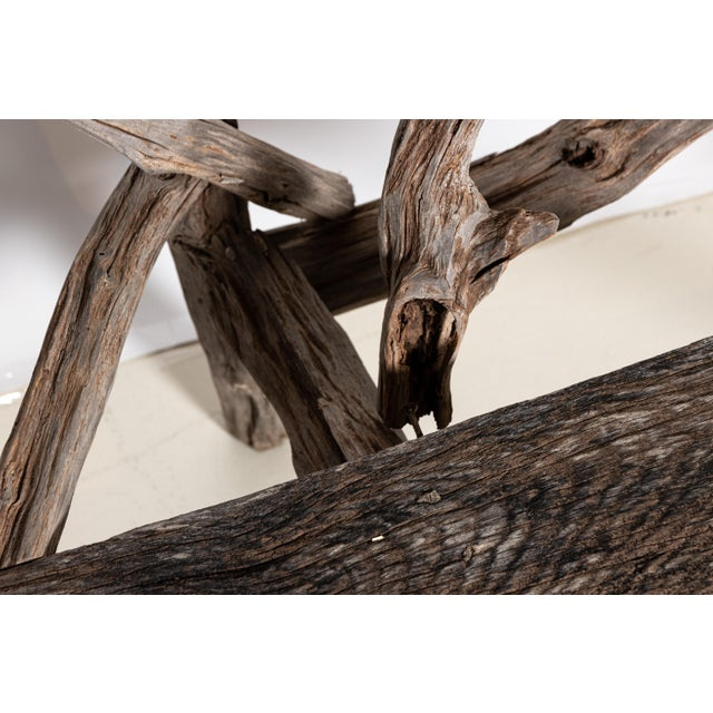 English Country Reclaimed Driftwood Garden Bench For Sale - Image 10 of 11