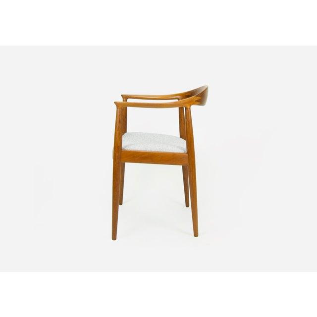 Johannes Hansen Hans Wegner for Johannes Hansen Teak Round Arm Chair For Sale - Image 4 of 13