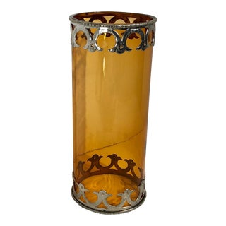 Antique Amber Blown Glass Hurricane With Hand Stamped Sterling Silver Rim Edging For Sale