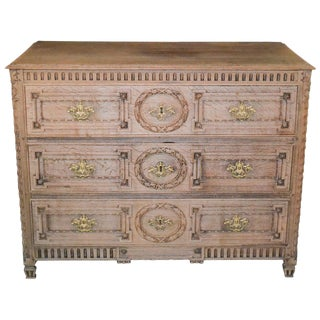 18th Century French Louis XVI Bleached Oak Commode For Sale