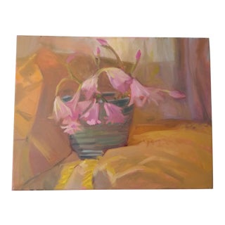 Still Life Pink Lilies Original Acrylic on Canvas Painting