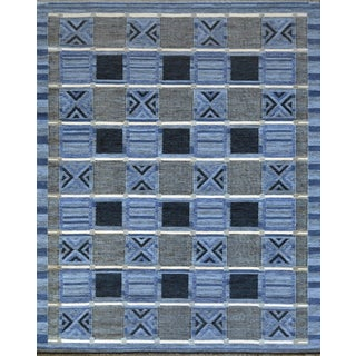 Mansour Modern Handwoven Swedish Style Flat-Weave Wool Rug For Sale