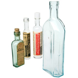 Set of Four Vintage French Pharmacy Bottles