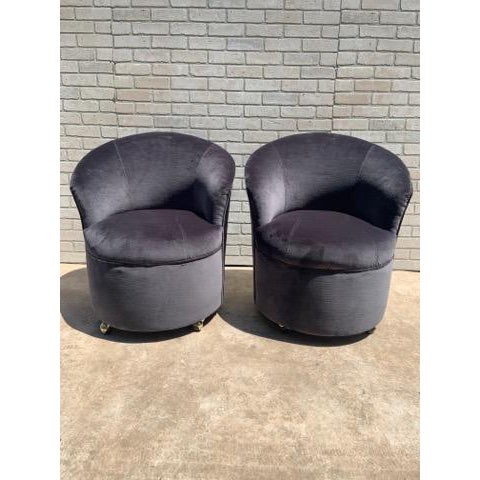 Mid Century Modern Sculptural Directional Barrel Chairs on Casters Newly Uphostered - Pair For Sale In Chicago - Image 6 of 12