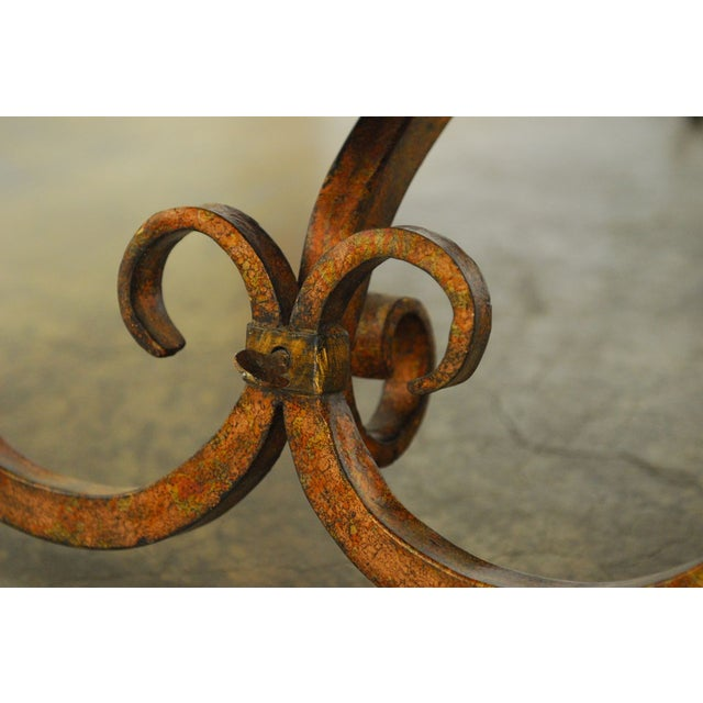 Spanish Colonial Trestle Table With Wrought Iron - Image 7 of 10