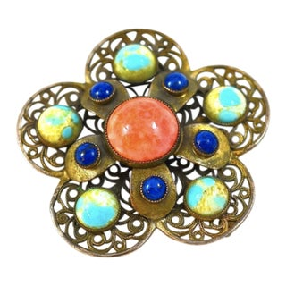 Antique Sterling Filigree Multi Stone Pin For Sale