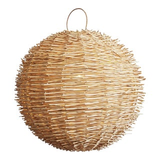 Bird Nest Rattan Globe Lantern Medium For Sale