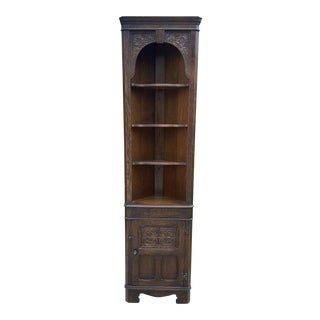 English Oak Corner Display Cabinet Bookcase 1940s 1 of 2 For Sale