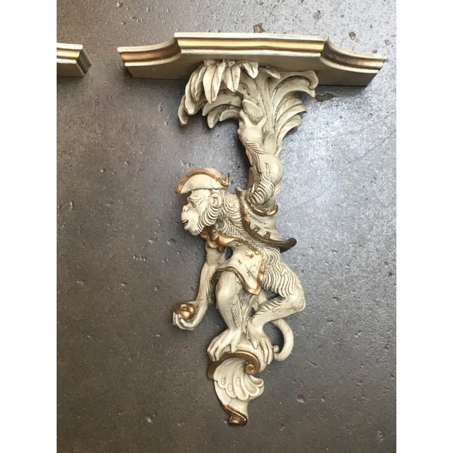 Gold Pair of Vintage Composite Monkey Wall Shelves or Brackets For Sale - Image 8 of 9