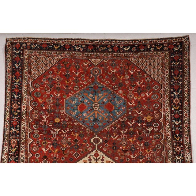 Late 19th Century 1870s Hand Made Antique Collectible Persian Khamseh Rug 6.4' X 9.9' For Sale - Image 5 of 10