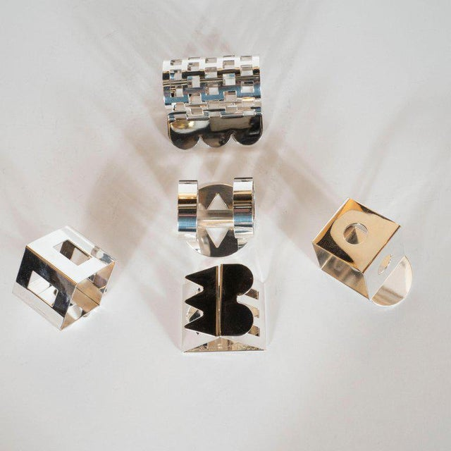 Modernist Memphis Silverplate Napkin Rings by Nathalie Du Pasquier for Bodum - 11 Pc. For Sale In New York - Image 6 of 11
