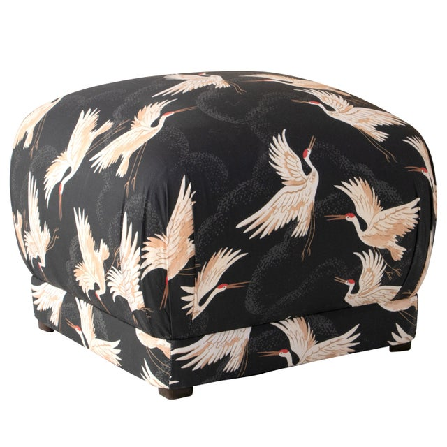 2010s Square Ottoman in Crane Flock Ink Oga For Sale - Image 5 of 5