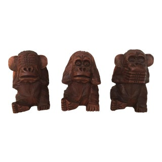 Vintage Carved Teak See Know Speak Monkeys - Set of 3