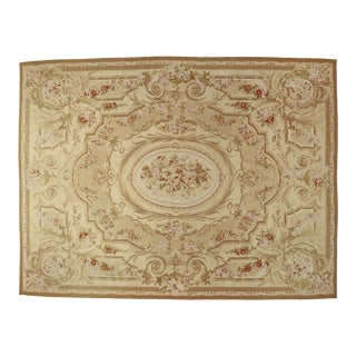 Vintage Aubusson Chinese Rug With French Chintz Style - 10'06 X 13'06 For Sale