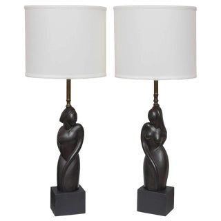 Pair of Art Deco Style Table Lamps with Male and Female Torsos, Mid-Century For Sale