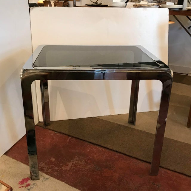 1970s Hollywood Regency Nickel Plated Steel Table With Smoked Glass Insert Top For Sale - Image 9 of 9