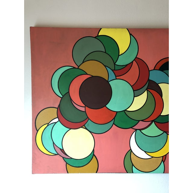 Mid Century Oversized Op Art Painting For Sale - Image 4 of 8