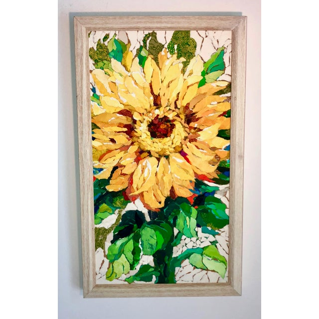 "Acrylic Paint ""Sunflower I"" Acrylic Collage Painting For Sale - Image 7 of 7"