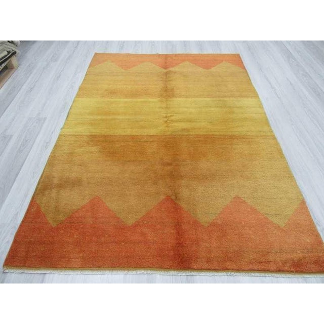 Decorative Yellow Safraan Turkish Gabbeh Rug - 5′6″ × 8′1″ - Image 4 of 6