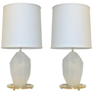 Contemporary Italian Faceted Solid Rock Frosted White Glass Brass Lamps - a Pair For Sale