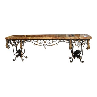 Fantastic 1920's Forged Iron and Marble Console Table From France For Sale