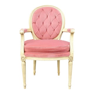 Vintage French Provincial Pink Velvet Tufted Armchair For Sale