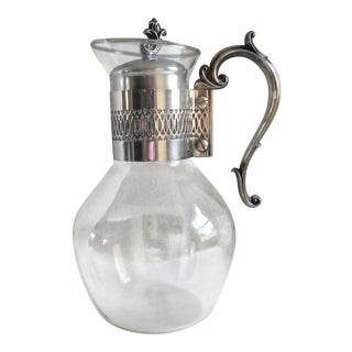 Vintage Fb Rogers Silverplate & Glass Serving Carafe/Pitcher For Sale