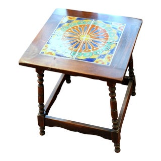 Vintage California Pottery Tile Side Table For Sale