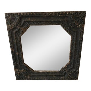 Reclaimed Pressed Tin Mirror For Sale