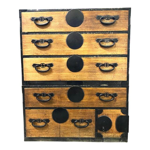 Mid 19th Century Japanese Meiji Period Kiri Wood Tansu Clothing Cabinet For Sale