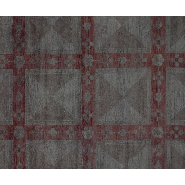 Contemporary Over Dyed Color Reform Loni Lt. Gray Wool Rug - 7'9 X 9'11 A3357 For Sale - Image 3 of 7