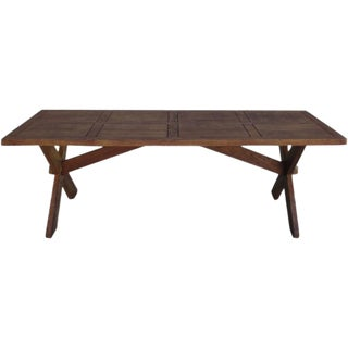 Antique French Rustic Trestle Table For Sale