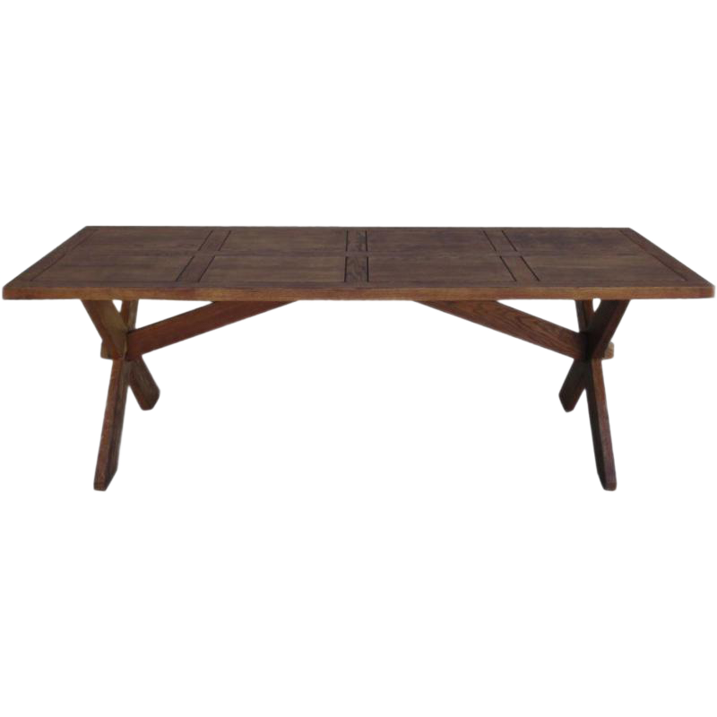 Antique French Rustic Trestle Table