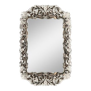 Transitional Small Rectangular Handcut Glass Mirror For Sale