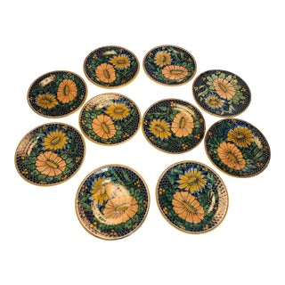 Antique Floral Uriarte Puebla Talavera Dinner Plates - Set of 10 For Sale