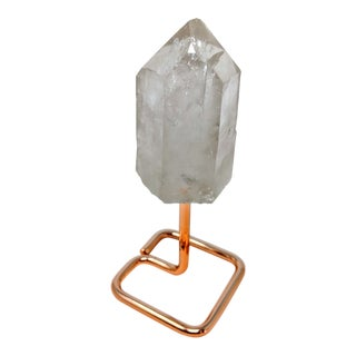 Early 21st Century White Quartz Crystal on Rose Gold Stand For Sale