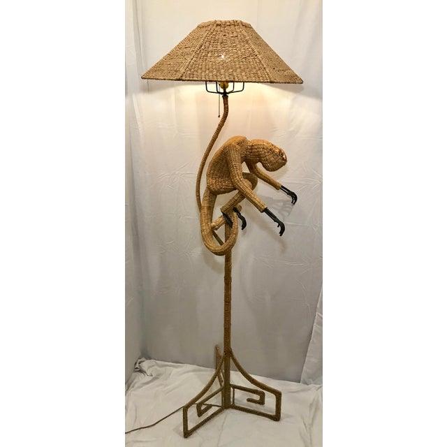 Mario Lopez Torres 1970s Mario Lopez Torres Mid-Century Wicker Monkey Floor Lamp For Sale - Image 4 of 13
