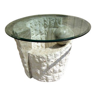 Vintage Faux Stone and Round Glass End Table Magnussen For Sale