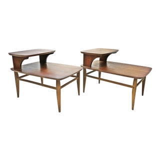 Mid Century Modern Lane Accent Step Tables - A Pair
